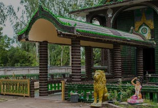 Buddhist Temple of Thailand Which is Made of Beer Bottles